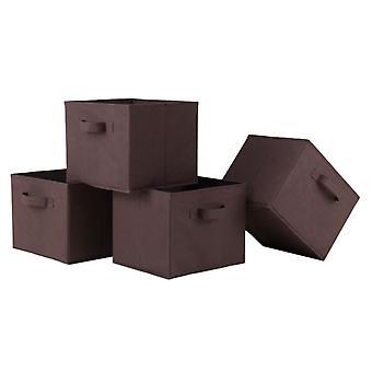 Capri Set di 4 cestini pieghevoli in tessuto di cioccolato