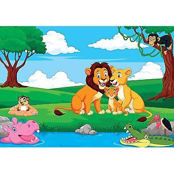 Fondo de pantalla Mural Cartoon Lion Family in t