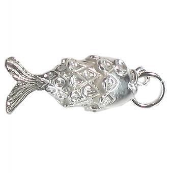 Fleksibel Fisk Sterling Sølv Charm 0,925 X 1 bevægelige Fishes Charms