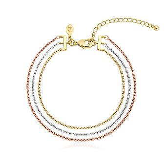 Joma مجوهرات إيلا متعددة سلسلة الذهب الفضة ارتفع الذهب 18cm + 3cm سوار الموسع 4473