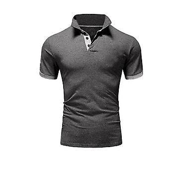 Καλοκαιρινό κοντομάνικο πουκάμισο πόλο, άνδρες περιστασιακό, λεπτό στερεό χρώμα