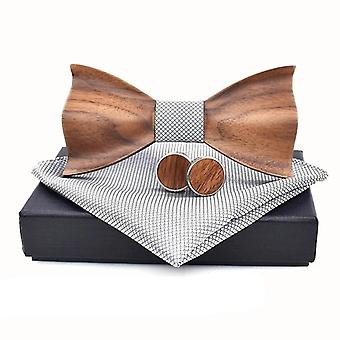 3d Træ Tie Pocket Square Manchetknapper Fashion Wood Bow Tie Wedding Set