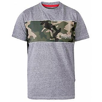 DUKE Duke Herren große Größe - D555 geschnitten und nähen Camo Print Rundhals T-Shirt grau