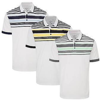 Stuburt Golf Mens 2021 Alton Breathable Wicking Summer Striped Golf Polo Shirt