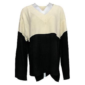 G By Giuliana Women's Sweater V Neck Colorblock Pullover Black 726996