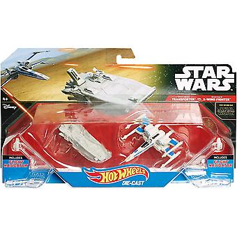 Hot wheels star wars die cast vehicle 2 pack transporter vs x-wing fighter