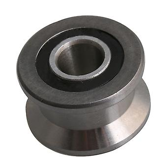 Silver Steel 22.5mm OD Ball Bearing Pulley Sliding Roller 8mm ID
