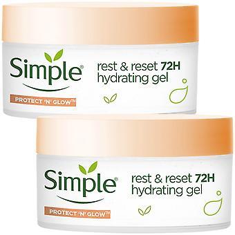 2pk av 50ml Simple Protect n Glow Rest & Reset 72H Hydrating Gel