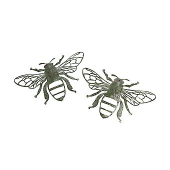 Set of 2 Weathered Galvanized Zinc Finish Metal Bumble Bee Wall Hangings 13.75 Inches Long