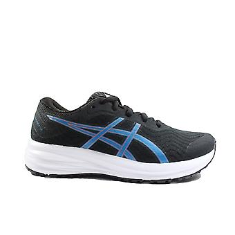Asics Patriot 12 GS Black/Reborn Blue Mesh Childrens Lace Up Running Trainers