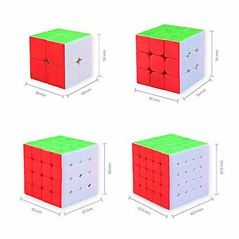 4pcs Magic Cube Speed Cube 2x2 3x3 4x4 5x5 Puzzle Toys Gift For Kids