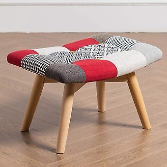 Harrison Patchwork Stool - Footstool | Multi-colour Patchwork | Modern | Retro (patchwork Multi-colour)