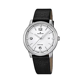 Quartz men's watch with analog display and leather strap, color: black, 1 C4511