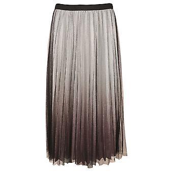 Frank Lyman Black & Silver Ombre Pleated Mid-length Skirt
