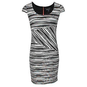 Frank Lyman Black Ruffle Print Dress With Cap Sleeve