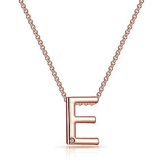 Rose gold initial necklace letter e created with swarovski® crystals