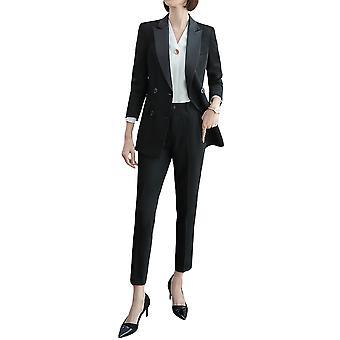 Allthemen Ladies Peaked Revers Doppelbrust Kontrast Farbe Anzug zweiteiligen Anzug