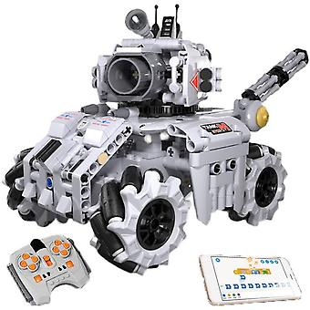 High-tech rc stormed tank model bricks moc scratch graphical programming robot building blocks educational toys for kids gifts