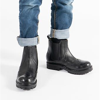Shuperb Hutch Kids Leather Brogue Chelsea Boots Black
