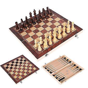 Šachová sada Dřevěná hra Backgammon Checkers Indoor Travel Skládací šachovnice