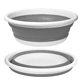 Siliconen kom opvouwbaar – 9L – 37 cm – Grijs & Wit