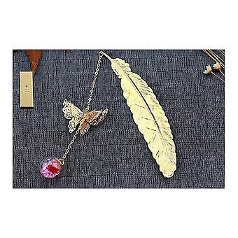 Metallfjäderbokmärke,med 3d Fjäril och Glaspärlor Torrt Blomhänge(Bild1)