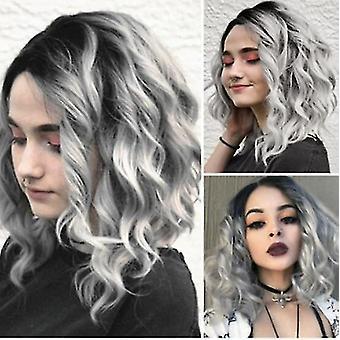 Senhoras cabelo encaracolado curto, fofo e elegante peruca ondulada curta, que parece natural como cabelo real,