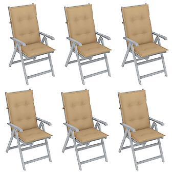 vidaXL כיסאות גן מתכווננים 6 יח'.