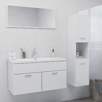 vidaXL أثاث الحمام تعيين اللوح الأبيض عالية اللمعان