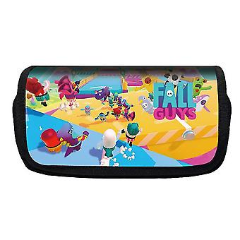Jelly Bean Fall Guys Double Flap Pencil Case Polyester Children's Pencil Case (Color-18)