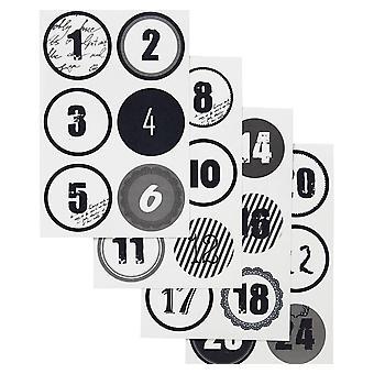 Pegatinas papel número monocromo Navidad Adviento calendario - 1 a 24