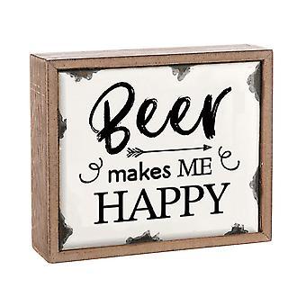 Beer Makes Me Happy Vintage Enamel Plaque - Gift Item
