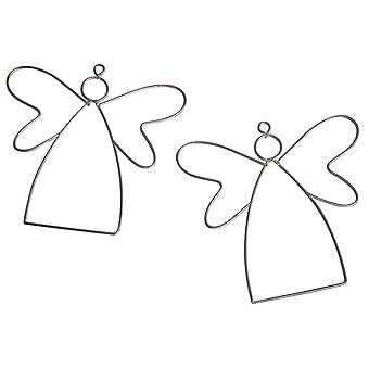 2 Hanging Metal Wire Angels to Decorate - 13cm