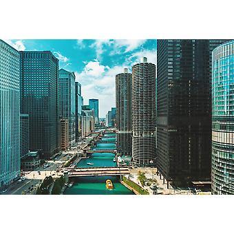 Mural de papel de parede rio Chicago