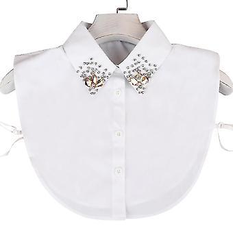 anti krøll halv skjorter nagle falsk krage rosa diamant avtakbar bluse