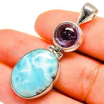 """لاريمار، Tanzanite قلادة 1 3/4 """" (925 الجنيه الاسترليني الفضة) - اليدوية بوهو خمر مجوهرات PD9535"""