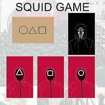 Halloween Party Squid Game Cards Cosplay Solitaire Game Card,squid Game/5 Sheets