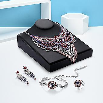 Divat Strasszkövek Női Ékszer szett Nyaklánc Karkötő Fülbevaló Gyűrűk Ajándékok