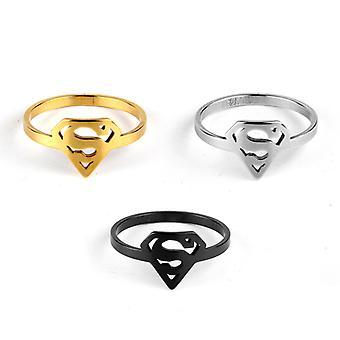 Superman Logo S Hollow Pattern Anello in acciaio inossidabile Nightclub Personality Ring Set 3 pezzi 3 colori