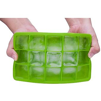 Silicone 15 Cavity Ice Cube Tray Molds Candy Mold Cake Mold (green)