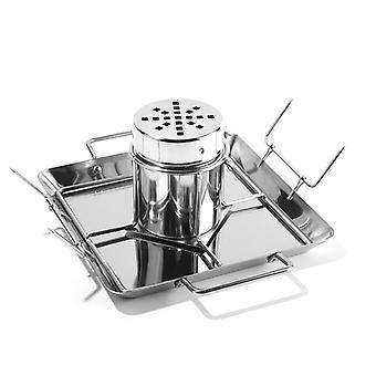 Ölburk kycklingrosteriställ Rostfritt stålhållare för grill, ugn eller rökare rostningshållare diskmaskin säker inkluderar 2 grönsaksspikar