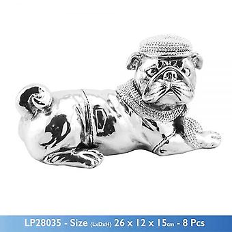 SILVER ART BULLDOG LYING WEARING HAT AND BOW 26CM HOME DECORATION SCULPTURE