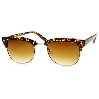 Para mujer Classic Studded Half Frame cuerno las gafas de sol