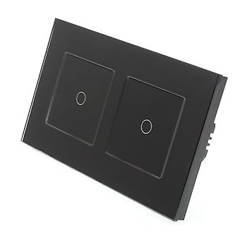 I LumoS Black Glass Double Frame 2 Gang 1 Way Touch Dimmer LED Light Switch Black Insert