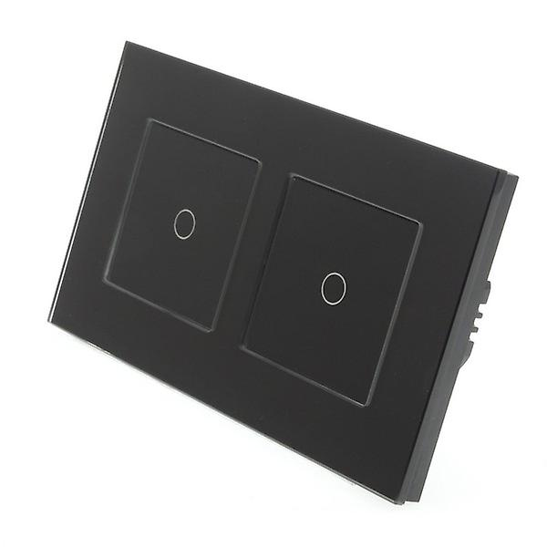 I LumoS Black Glass Double Frame 2 Gang 2 Way WIFI/4G Remote Touch LED Light Switch Black Insert