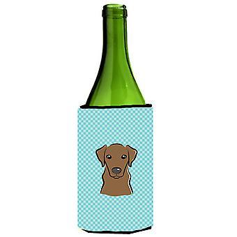 Checkerboard Blue Chocolate Labrador Wine Bottle Beverage Insulator Hugger