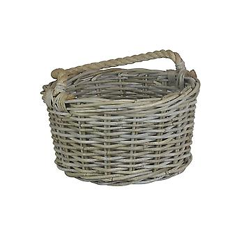 Large Rope Handled Grey Rattan Apple Basket