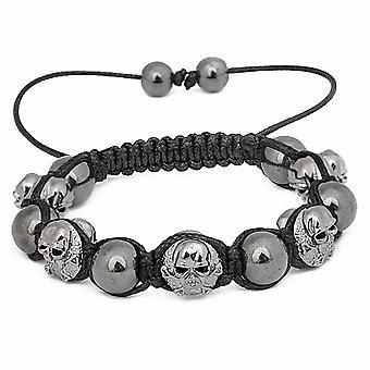 Unisex Bling Beads Armband - GUNMETAL SKULLS