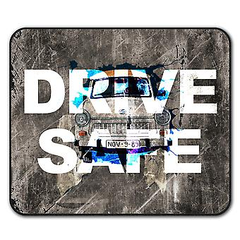 Conducir seguro Vintage ratón de antideslizante alfombra Pad 24 cm x 20 cm | Wellcoda