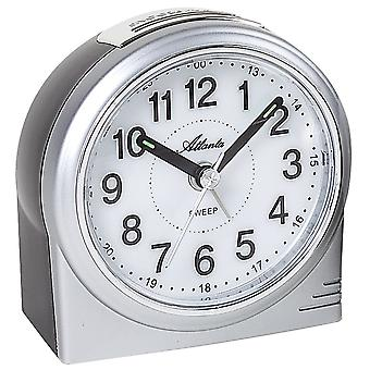Atlanta 1956/19 alarm clock quartz analog silver quietly without ticking with light Snooze